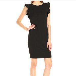 Calvin Klein ruffle shoulder sheath dress
